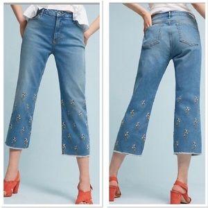 Anthropologie embroidered flower jean